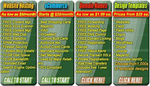Ecommerce web design hosting domains shopping cart for Name of online shopping websites
